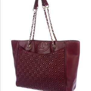 Tory Burch Fleming quilted logo tote burgundy